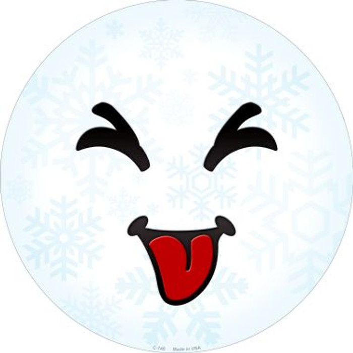 Raspberry Face Snowflake Novelty Metal Circular Sign