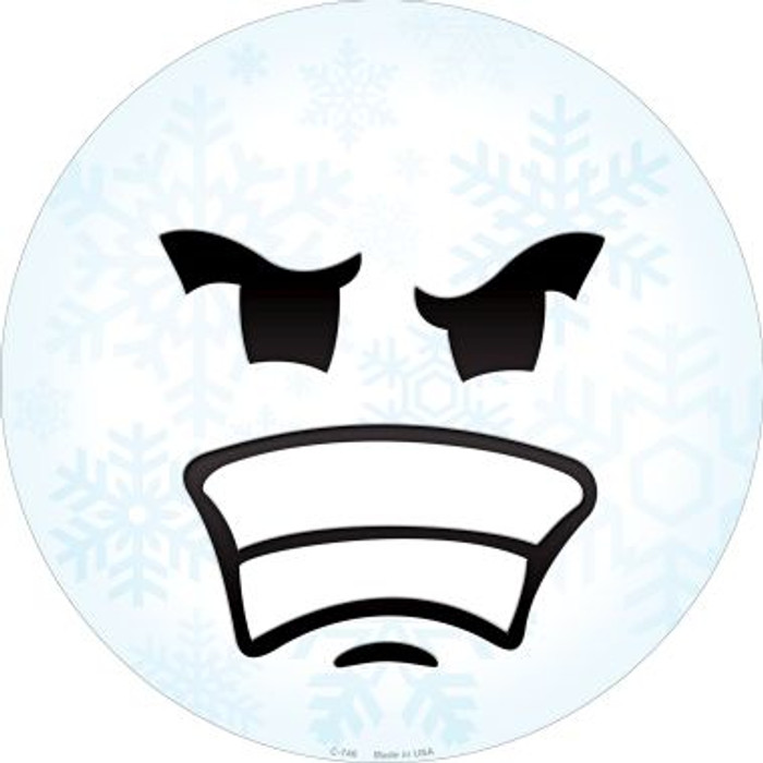 Angry Face Snowflake Novelty Metal Circular Sign