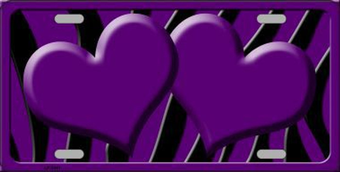Purple Black Zebra Purple Centered Hearts Novelty License Plate