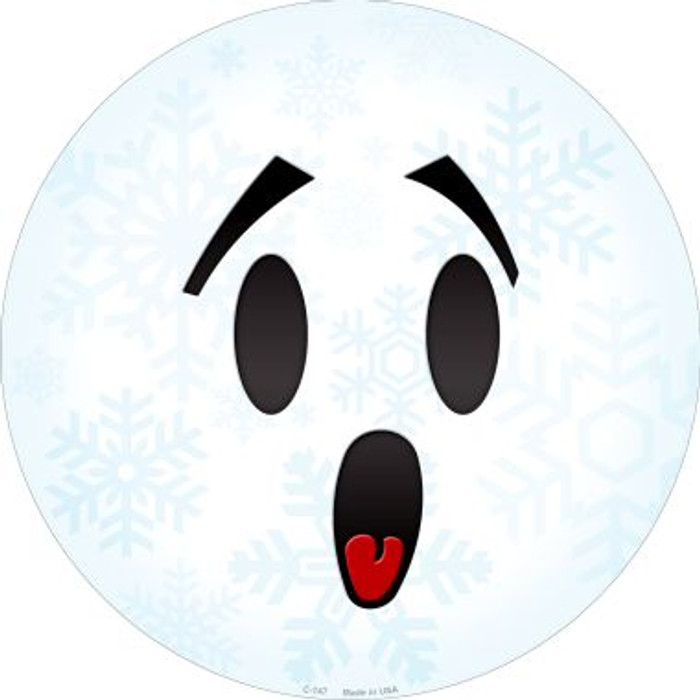 Surprise Face Snowflake Novelty Metal Circular Sign