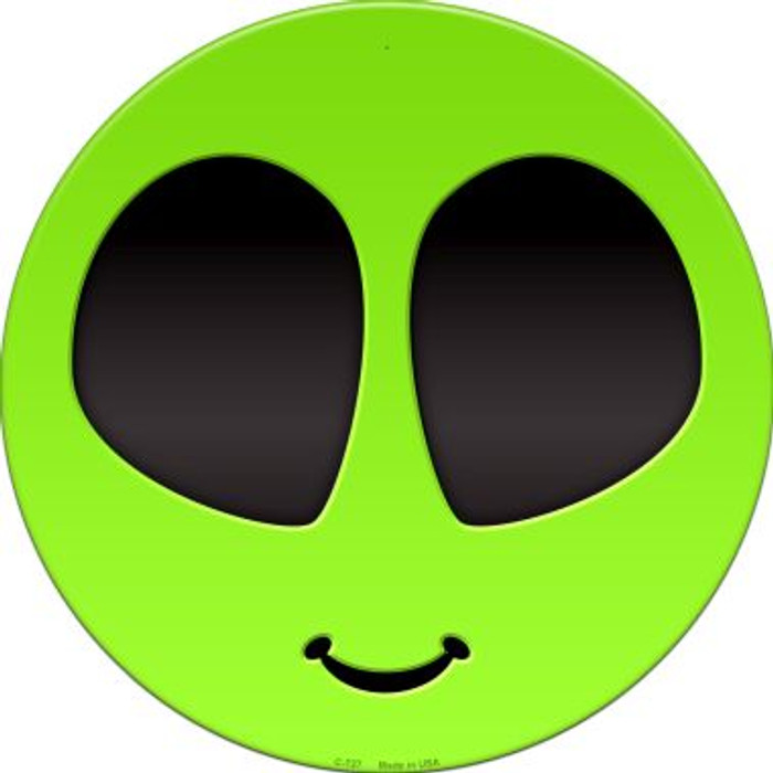 Alien Smile Novelty Metal Circular Sign