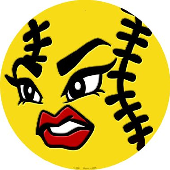 Angry Softball Novelty Metal Circular Sign