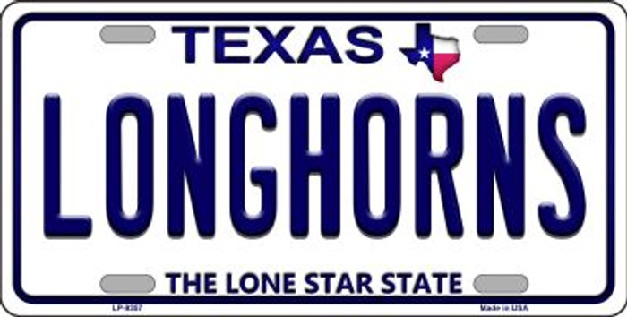 Longhorn Texas Background Novelty Metal License Plate