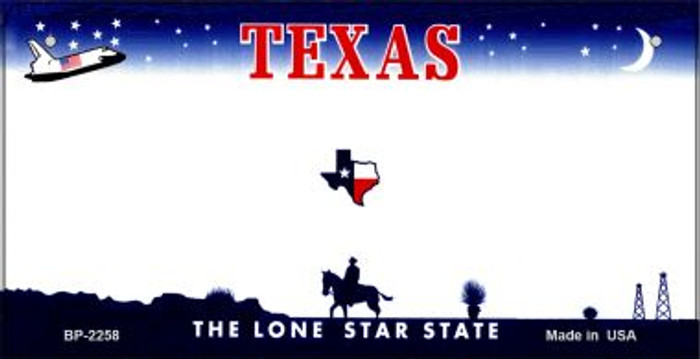 Texas Novelty State Background Bicycle License Plate