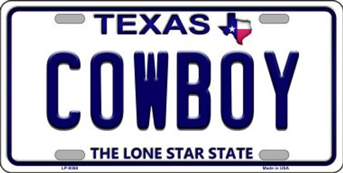 Cowboy Texas Background Novelty Metal License Plate