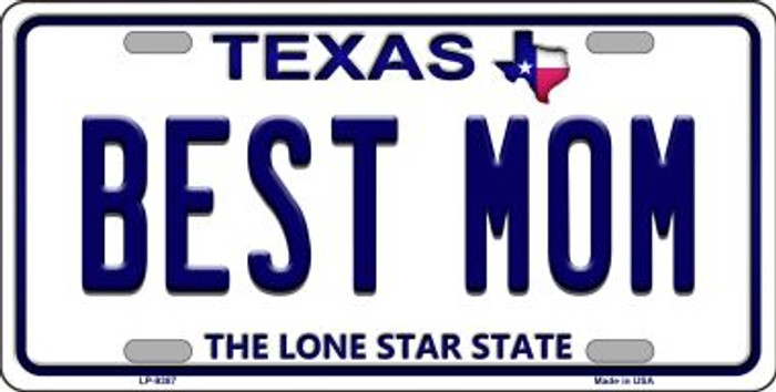 Best Mom Texas Background Novelty Metal License Plate