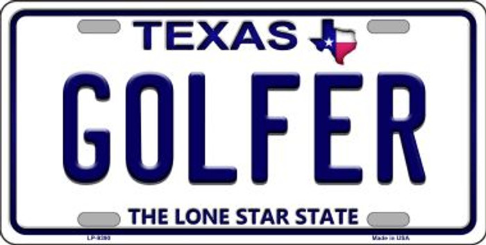 Golfer Texas Background Novelty Metal License Plate