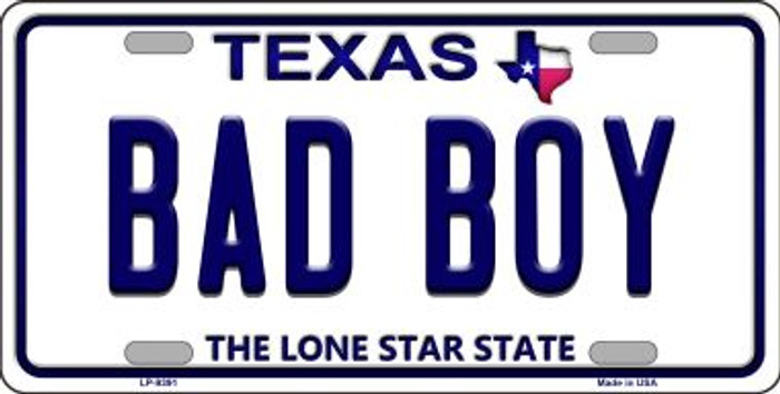 Bad Boy Texas Background Novelty Metal License Plate