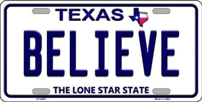 Believe Texas Background Novelty Metal License Plate