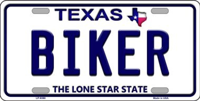 Biker Texas Background Novelty Metal License Plate