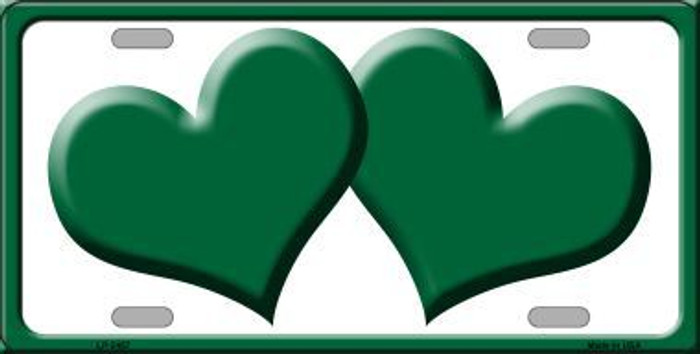 Solid Green Centered Hearts With White Background Novelty License Plate