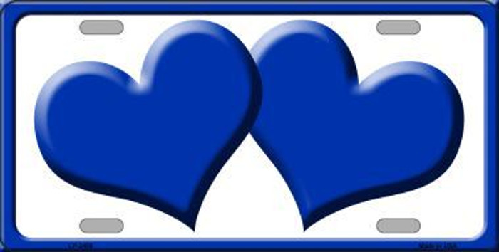Solid Blue Centered Hearts With White Background Novelty License Plate