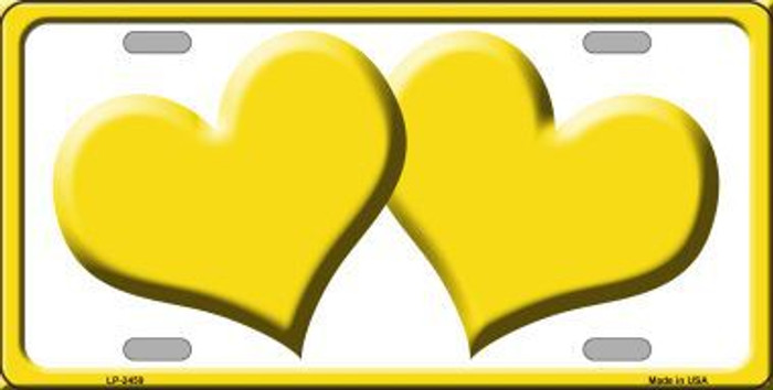 Solid Yellow Centered Hearts With White Background Novelty License Plate