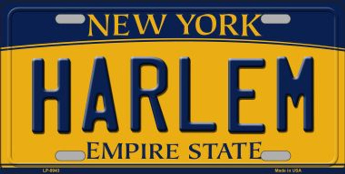 Harlem New York Background Novelty Metal Novelty License Plate