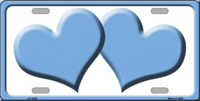 Solid Light Blue Centered Hearts With White Background Novelty License Plate