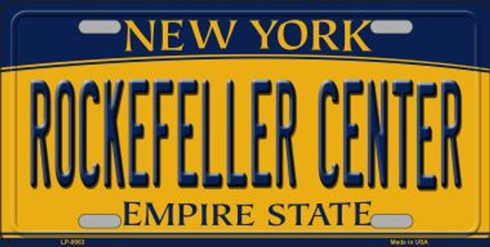 Rockefeller Center New York Background Novelty Metal License Plate