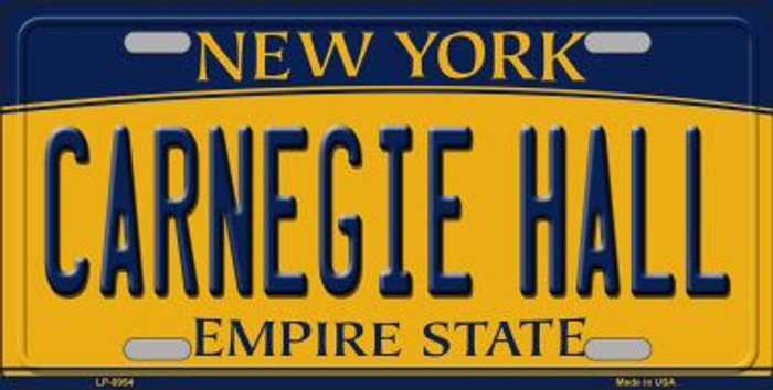 Carnegie Hall New York Background Novelty Metal License Plate
