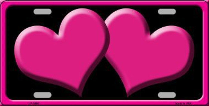 Solid Pink Centered Hearts With Black Background Novelty License Plate