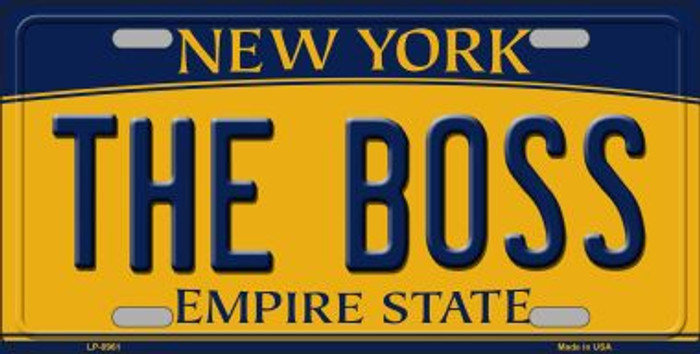 The Boss New York Background Novelty Metal License Plate