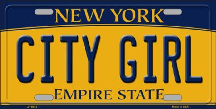 City Girl New York Background Novelty Metal License Plate