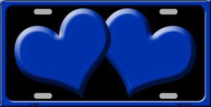 Solid Blue Centered Hearts With Black Background Novelty License Plate