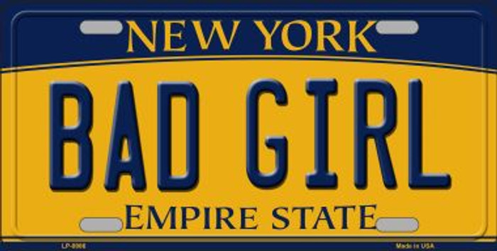 Bad Girl New York Background Novelty Metal License Plate