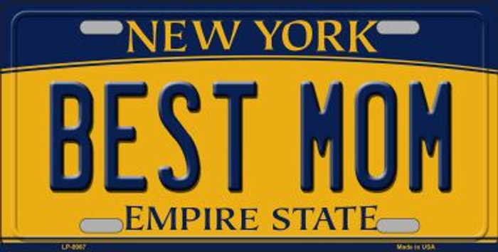 Best Mom New York Background Novelty Metal Novelty License Plate