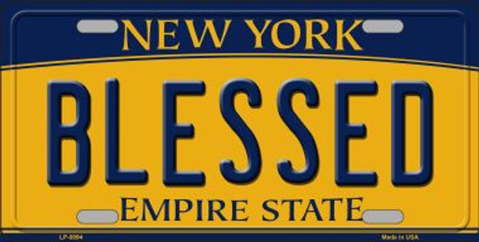 Blessed New York Background Novelty Metal License Plate