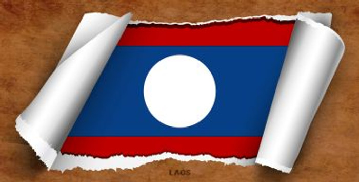 Laos Flag Scroll Novelty Metal License Plate