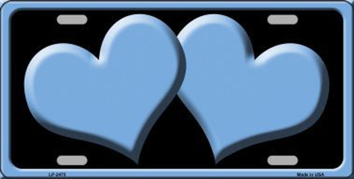 Solid Light Blue Centered Hearts With Black Background Novelty License Plate