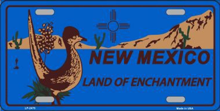 Roadrunner Blue New Mexico Metal Novelty License Plate