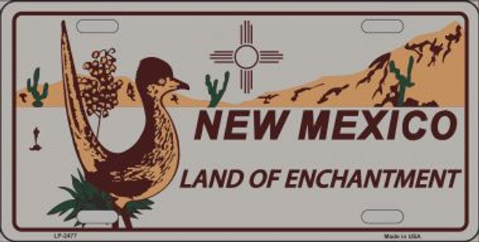 Roadrunner Gray New Mexico Metal Novelty License Plate