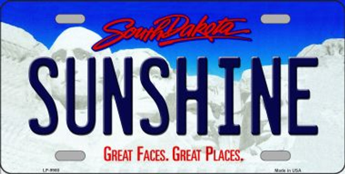 Sunshine South Dakota Background Novelty Metal License Plate
