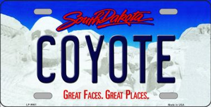 Coyote South Dakota Background Novelty Metal License Plate