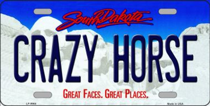 Crazy Horse South Dakota Background Novelty Metal License Plate