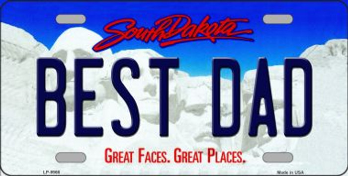 Best Dad South Dakota Background Novelty Metal License Plate