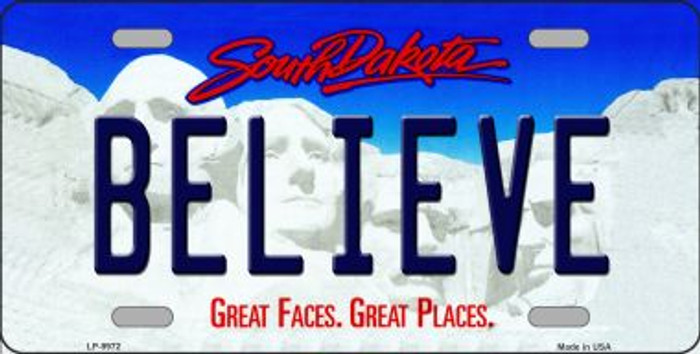 Believe South Dakota Background Novelty Metal License Plate