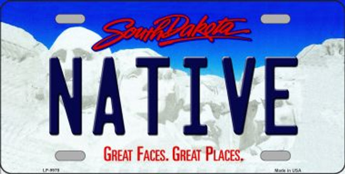 Native South Dakota Background Novelty Metal License Plate