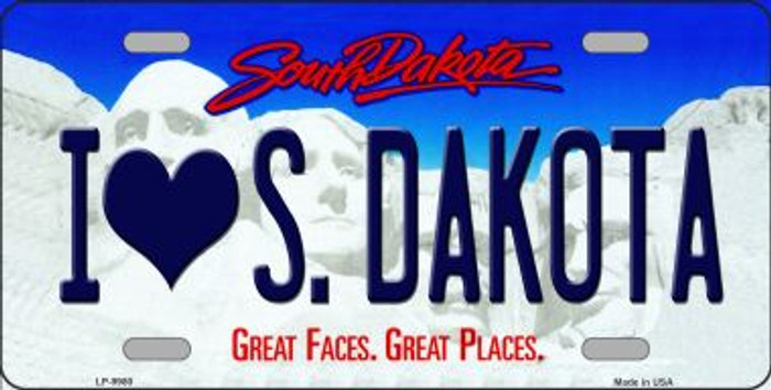 I Love SD South Dakota Background Novelty Metal License Plate