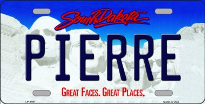 Pierre South Dakota Background Novelty Metal License Plate