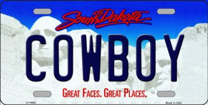 Cowboy South Dakota Background Novelty Metal License Plate