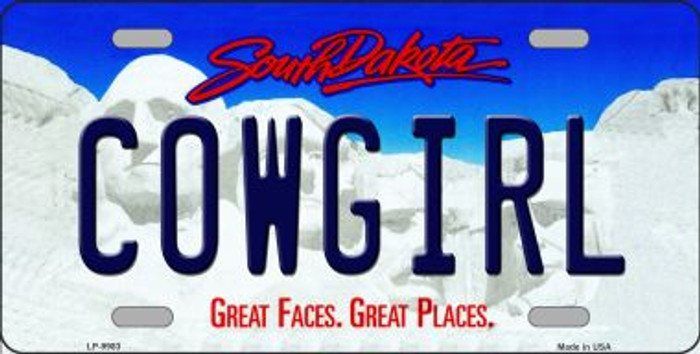 Cowgirl South Dakota Background Novelty Metal License Plate