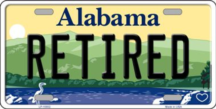 Retired Alabama Background Novelty Metal License Plate
