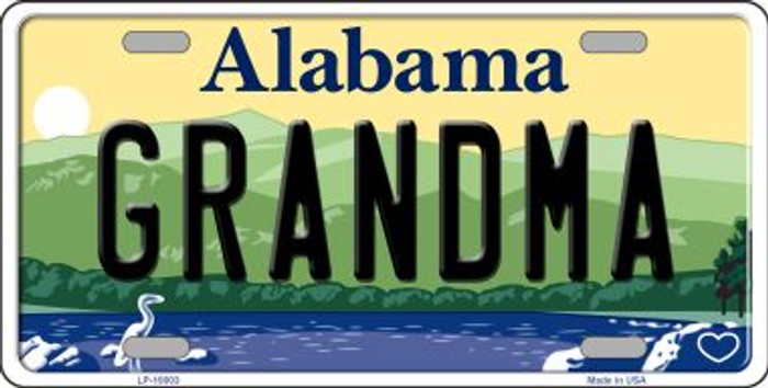 Grandma Alabama Background Novelty Metal License Plate