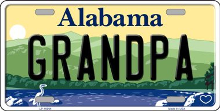 Grandpa Alabama Background Novelty Metal License Plate