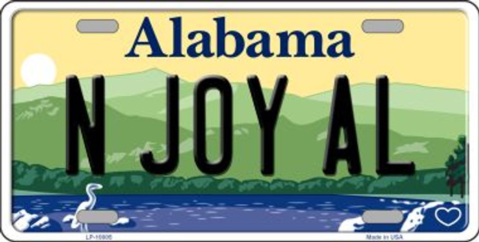 N Joy AL Alabama Background Novelty Metal License Plate