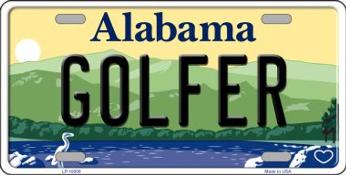 Golfer Alabama Background Novelty Metal License Plate