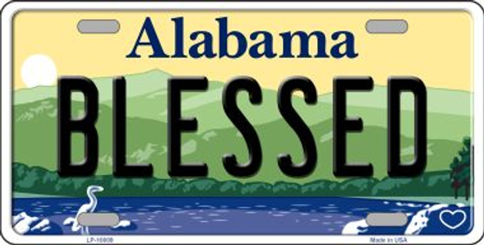 Blessed Alabama Background Novelty Metal License Plate