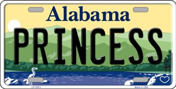 Princess Alabama Background Novelty Metal License Plate