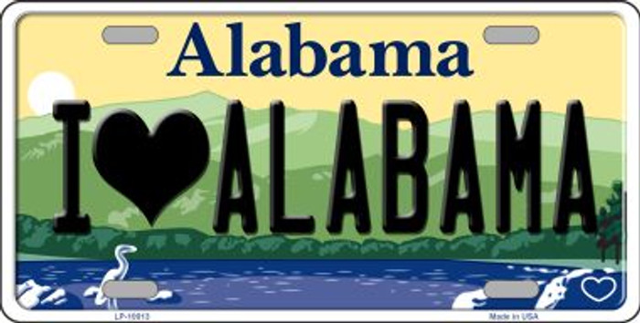 I Love Alabama Background Novelty Metal License Plate